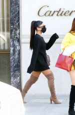 ARIANA GRANDE in a Short Dress and Over-the-knee Boots Out Shopping in Beverly Hills 11/14/2020