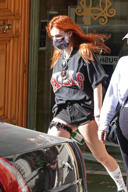 BELLA THORNE in a Black Denim Shorts Leaves Her hotel in Rome 11/07/2020