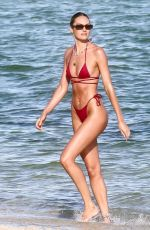 CANDICE SWANEPOEL in a Red Bikini at a Beach in Miami 11/16/2020
