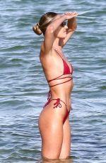 CANDICE SWANEPOEL in a Red Bikini at a Beach in Miami 11/16/2020