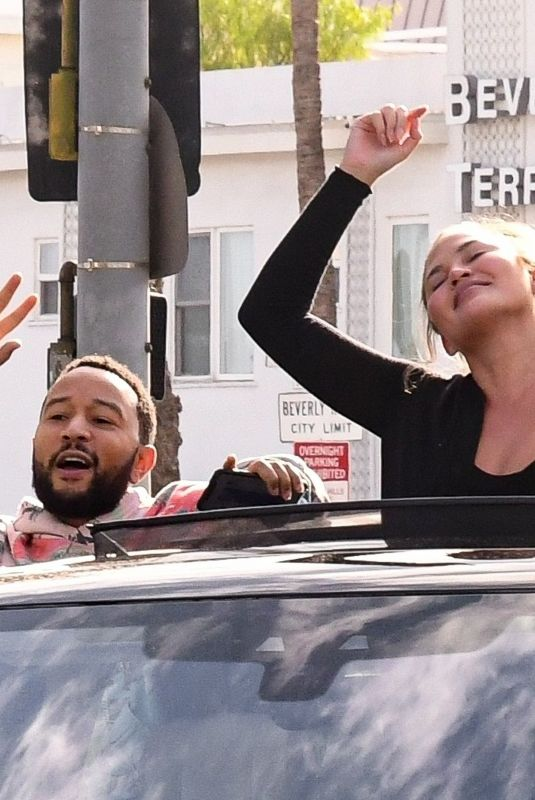 CHRISSY TEIGEN and John Legend Drives on Biden's Victory Parade in West Hollywood 11/07/2020