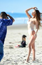 FRANCESCA FARAGO in Swimsuit at a Photoshoot at a Beach in Venice 11/04/2020