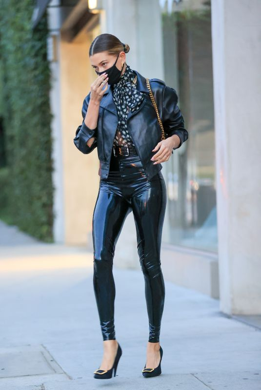 HAILEY BIEBER in YSL Latex Visits Maeve Reilly's Office in Los Angeles 11/20/2020