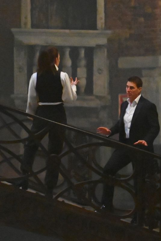 HAYLEY ATWELL and Tom Cruise on the Set of Mission Impossible 7 in Venice 11/13/2020