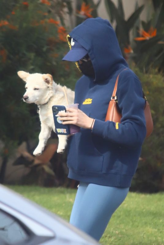 KAIA GERBER Out with her Dog in West Hollywood 11/23/2020