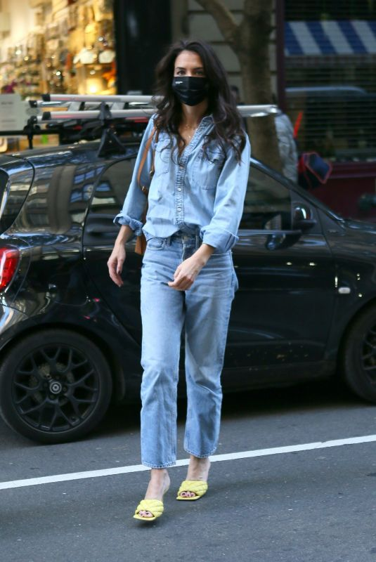 KATIE HOLMES in Double Denim Out in New York 11/10/2020