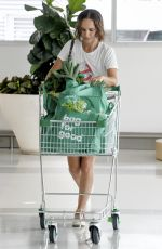 NATALIE PORTMAN in Denim Shorts Shopping at Sydney Woolworth 11/16/2020