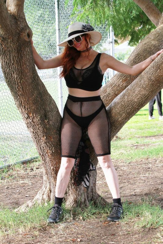 PHOEBE PRICE Workout at a Park in Los Angeles 10/31/2020