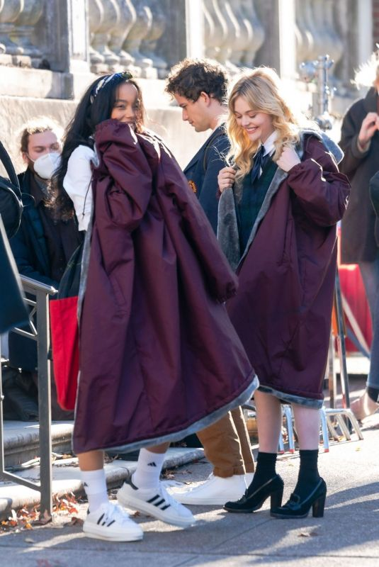 WHITNEY PEAK and EMILY ALYN LIND on the Set of Gossip Girl in New York 11/23/2020