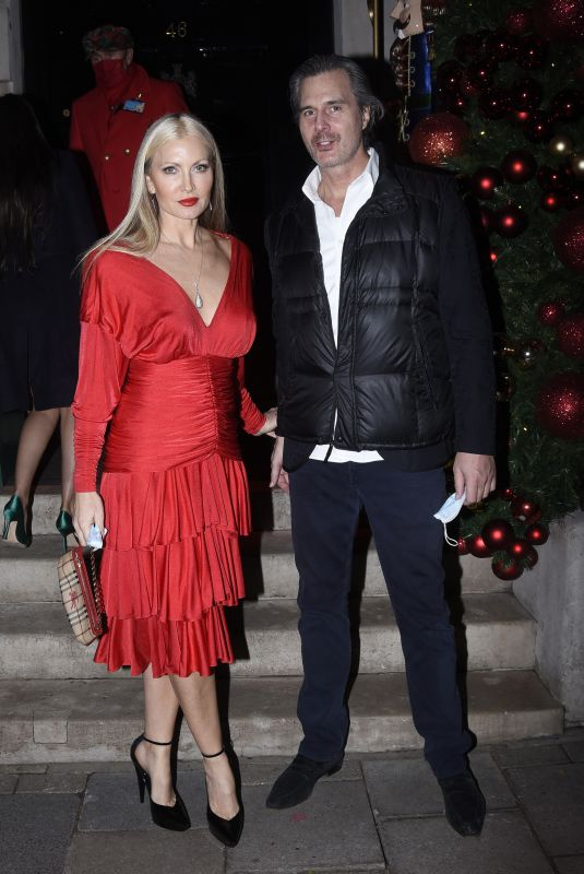 CAPRICE BOURRET in a Red Dress at Annabel's Club in London 12/10/2020
