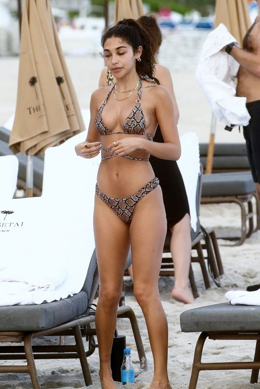 CHANTEL JEFFRIES in a Snakeskin Print Bikini at a Beach in Miami 12/07/2020