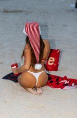 CLAUDIA ROMANI in Red and White Bikini in South Beach 12/23/2020