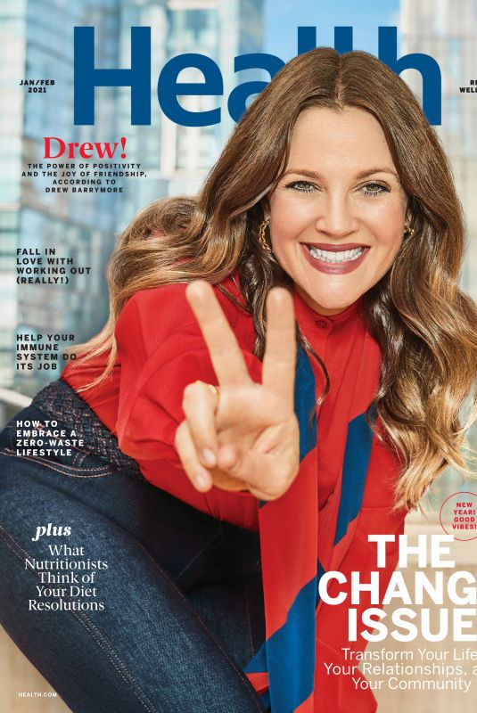 DREW BARRYMORE in Health Magazine, January/February 2021