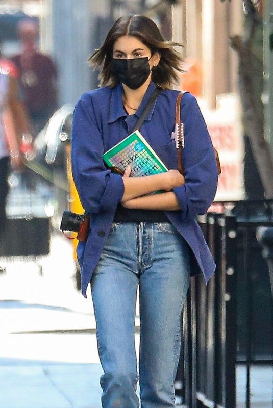KAIA GERBER in DEnim Leaves The Last Bookstore in Los Angeles 12/10/2020