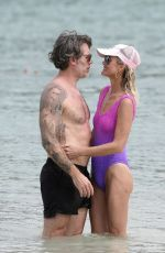 LAETICIA HALLYDAY in Swimsuit at a Beach in St Barths 12/08/2020