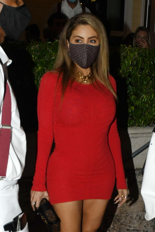 LARSA PIPPEN in a Tight Red Dress Night Out in Miami 12/04/2020