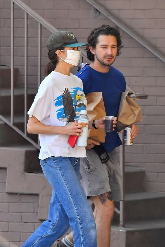 MARGARET QUALLEY and Shia LaBeouf Picking up Lunch at Stamp Foods in Los Feliz 12/26/2020