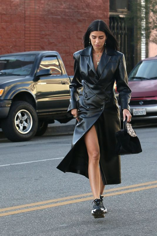 NICOLE WILLIAMS in a Long Leather Coat Out in Los Angeles 12/21/2020