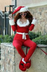 PHOEBE PRICE in a Santa Outfit Out in Los Angeles 12/09/2020