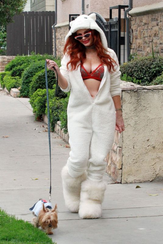 PHOEBE PRICE in Jumpsuit Out with Her Dog in Studio City 12/19/2020