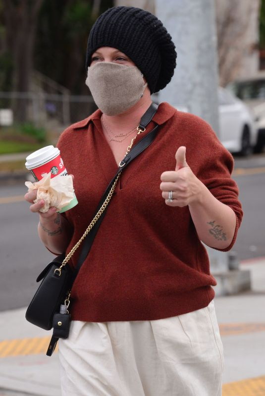 PINK Wearing a Face Mask Out in Santa Monica 12/07/2020