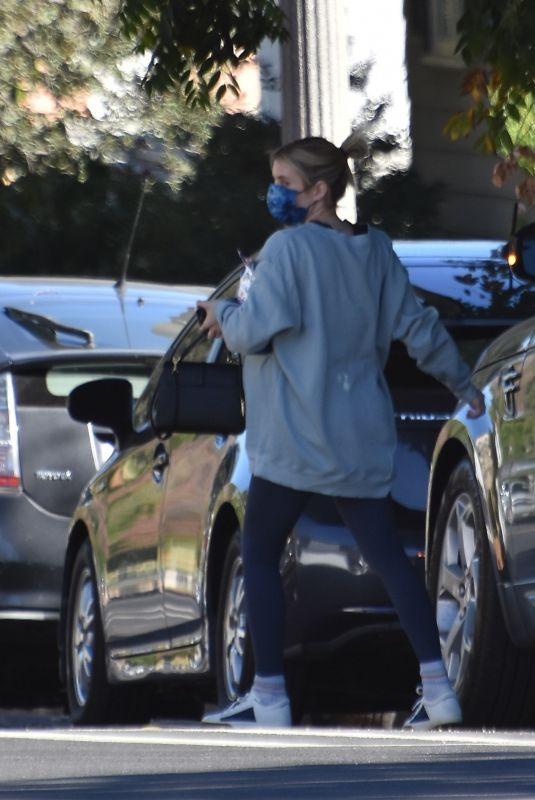 Pregnant EMMA ROBERTS Arriving at Her Home in Los Feliz 12/19/2020
