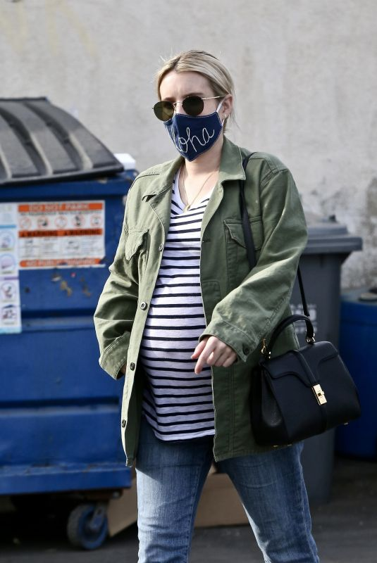Pregnant EMMA ROBERTS Out and About in Los Feliz 12/23/2020