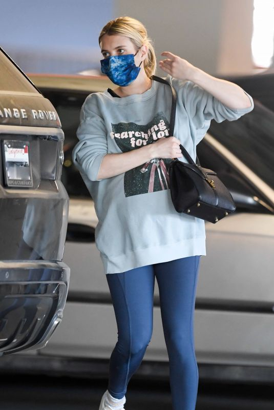 Pregnant EMMA ROBERTS Out Shopping in Los Feliz 12/19/2020