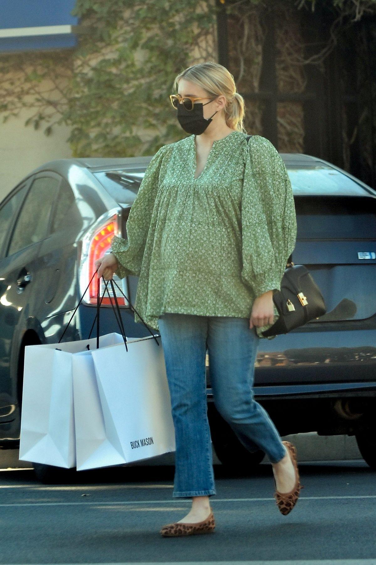 Pregnant EMMA ROBERTS Shopping at Buck Mason in Los