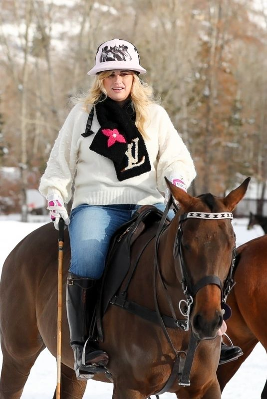 REBEL WILSON Playing Polo on Vacation in Aspen 12/19/2020