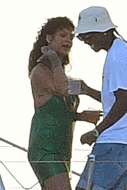 RIHANNA and Asap Rocky at a Boat in Barbados 12/28/2020