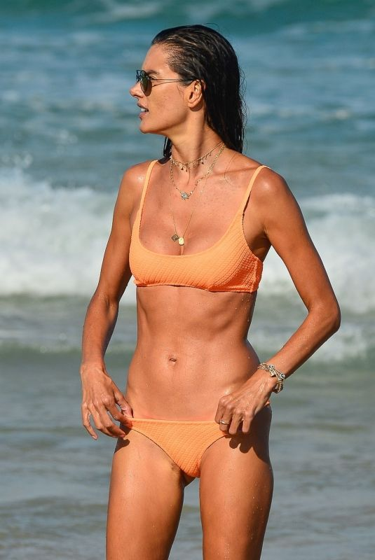 ALESSANDRA AMBROSIO in a Orange Bikini at a Beach in Brasil 01/09/2021
