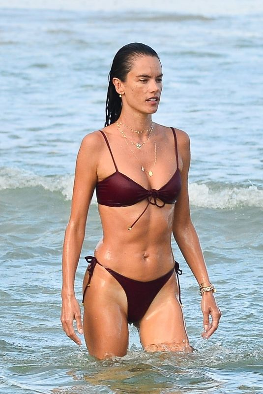 ALESSANDRA AMBROSIO in a Red Bikini at a Beach in Florianopolis 01/10/2021