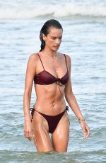 ALESSANDRA AMBROSIO in a Red Bikini at a Beach in Florianopolis 01/10/2021