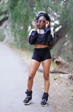 ARIANE ANDREW in SHorts Out Hiking at Fryman Canyon in Studio City 01/16/2021