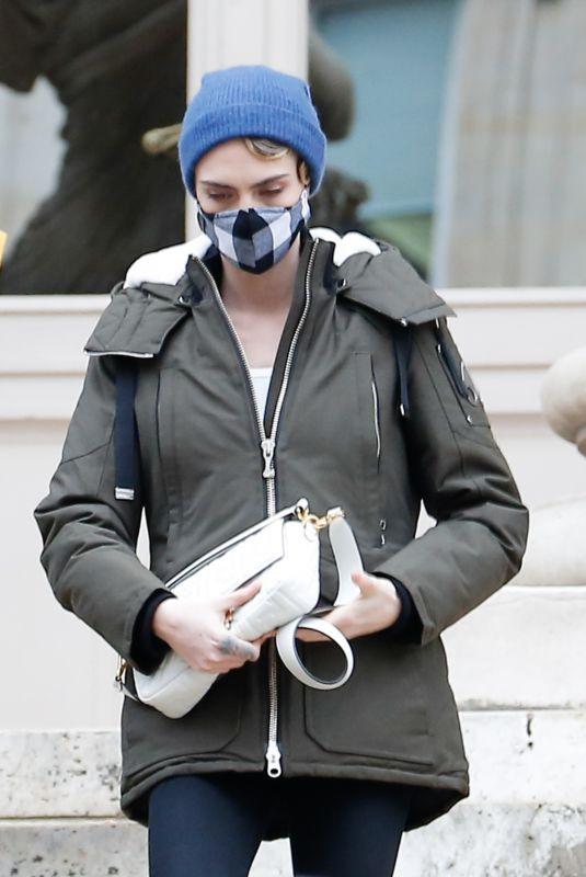 CARA DELEVINGNE Leaves Fendi Show at Paris Fashion Week 01/27/2021