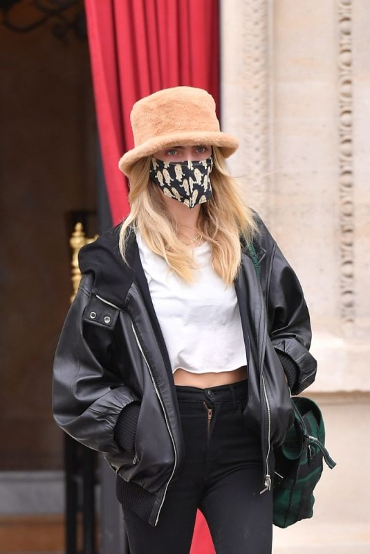 CARA DELEVINGNE Out in Paris for Fashion Week 01/26/2021