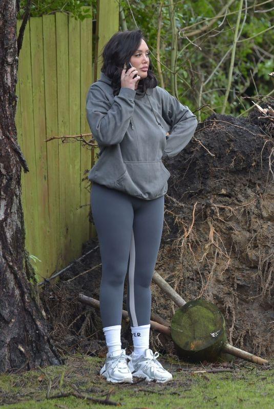 CHARLOTTE CROSBY Observing Damage at Her Home in Sunderland 01/29/2021