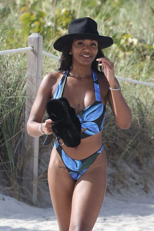 ELISA JOHNSON in Bikini at a Beach in Miami 041/01/2021