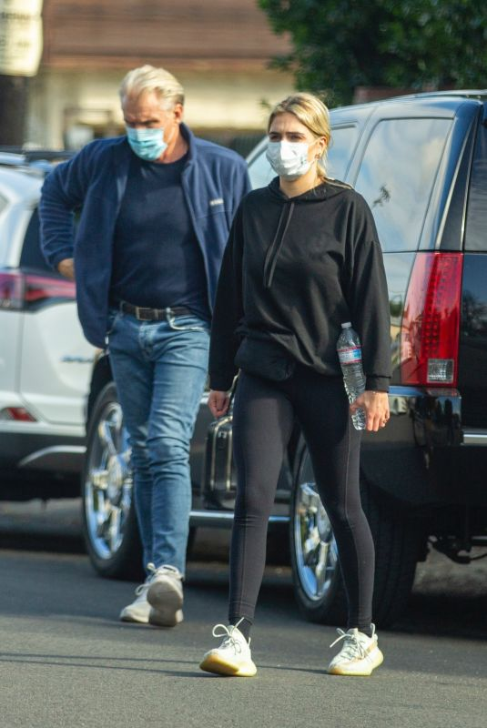 EMMA KROKDAL and Dolph Lundgren Out in Los Angeles 01/24/2021