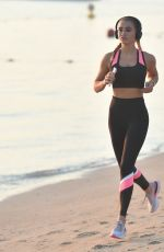 GEORGIA HARRISON Out Jogging at a Beach in Dubai 01/16/2021