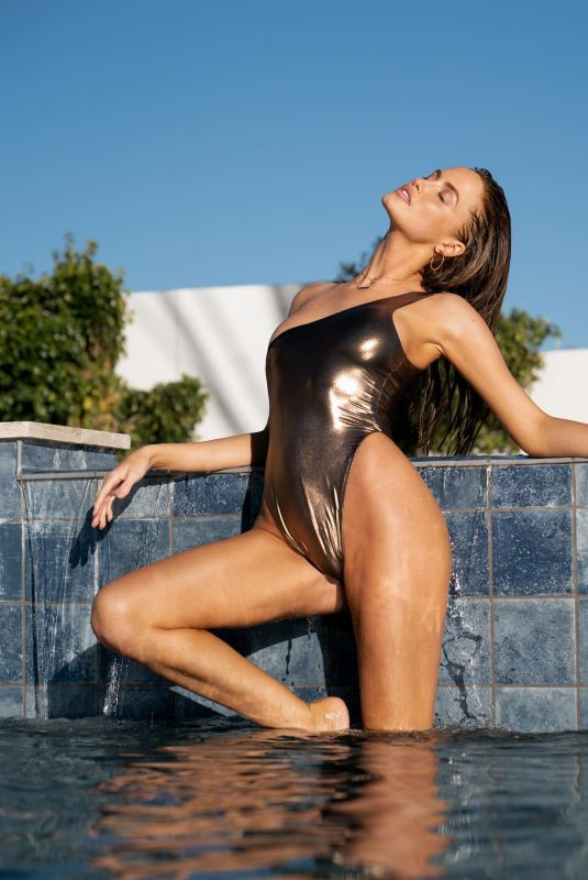 HALEY KALIL in a Golden Swimsuit at a Photoshoot, October 2020