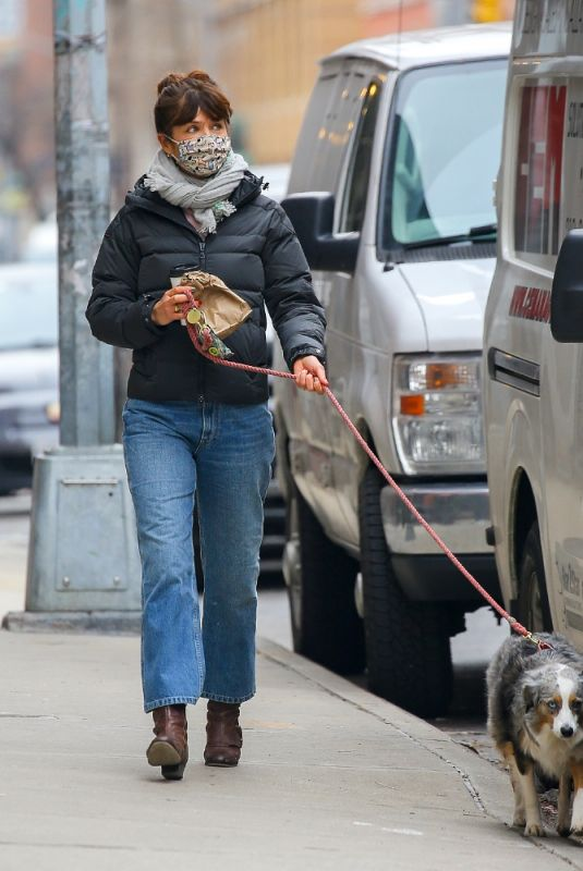 HELENA CHRISTENSEN Out with Her Dog in New York 01/11/2021