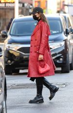 IRINA SHAYK in a Red Leather Jacket Out in New York 01/27/2021