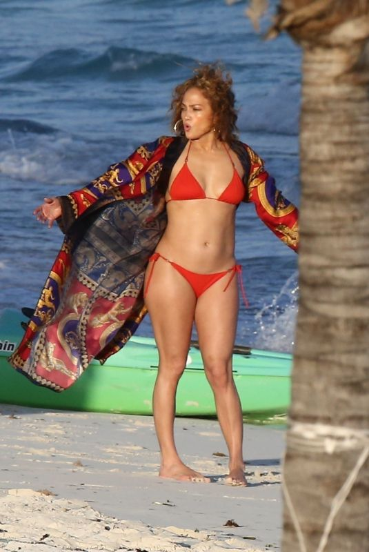 JENNIFER LOPEZ in a Red Bikini on the Beach in Turk and Caicos 01/04/2021