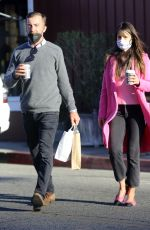JORDANA BREWSTER in a Pink Coat Out in Los Angeles 01/19/2021