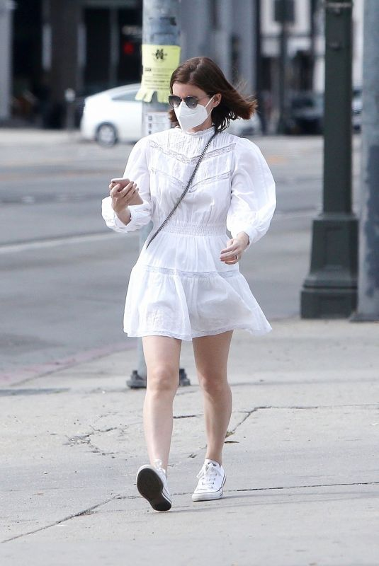 KATE MARA in a White Dress Out in Beverly Hills 01/10/2021