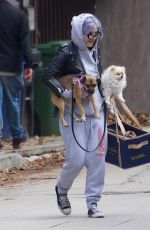 KELLY OSBOURNE Out with her Dogs in West Hollywood 01/25/2021