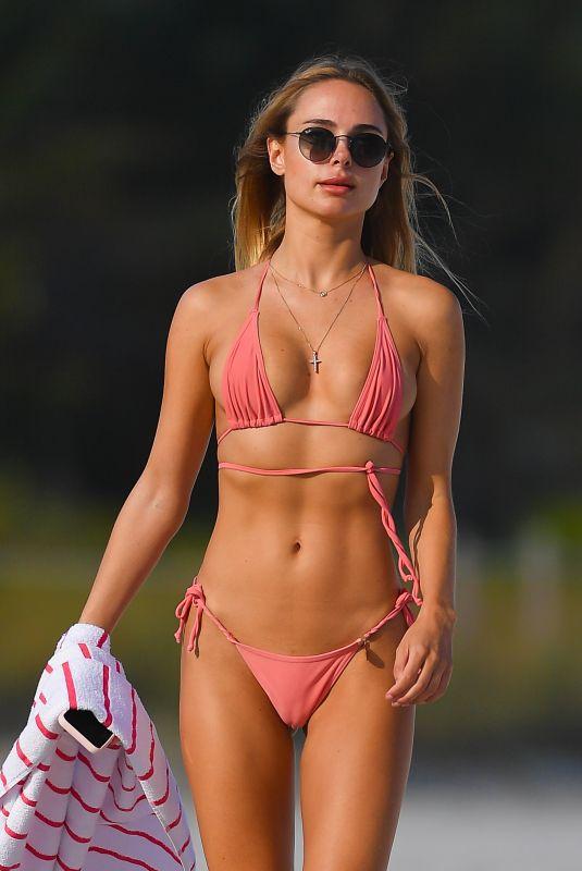 KIMBERLEY GARNER in a Pink Bikini at a Beach in Miami 01/27/2021