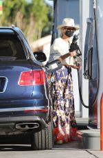 LAETICIA HALLYDAY at a Gas Station in Los Angeles 01/16/2021